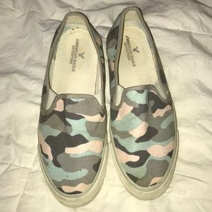 Camo slip on gym shoes from American Eagle